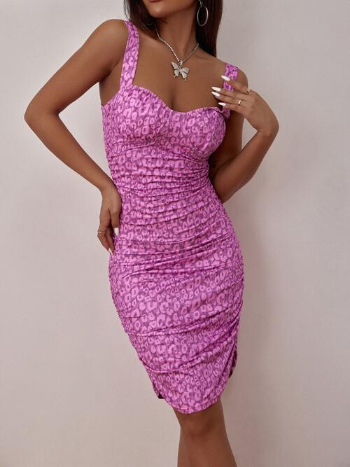 Beautiful Purple all over Print Ruched Sweetheart Allover Graphic Dress