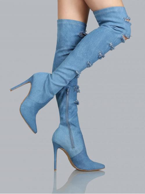 Affordable Polyester Blue Stretch Boots Ripped Distressed Pointed Toe Boots