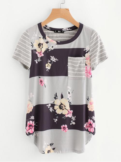 Casual Striped and Floral Regular Fit Round Neck Short Sleeve Multicolor Longline Length Floral & Striped Print Curve Hem Top