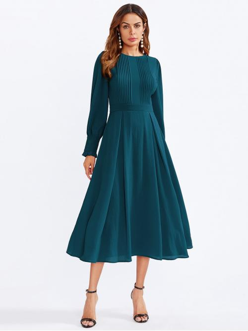 Trending now Teal Blue Plain Frill Round Neck Frilled Cuff Detail Flare Dress