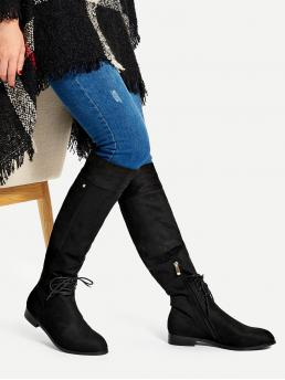 Other Almond Toe Plain Side zipper Black Low Heel Chunky Lace-up Detail Knee High Boots