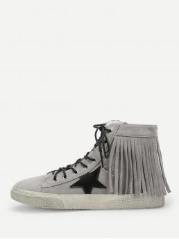 Other Round Toe Grey Star Detail Tassel Ankle Sneakers