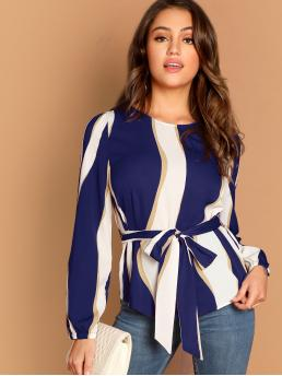 Casual Striped Top Regular Fit Round Neck Long Sleeve Pullovers Multicolor Regular Length Self Belted Striped Top with Belt