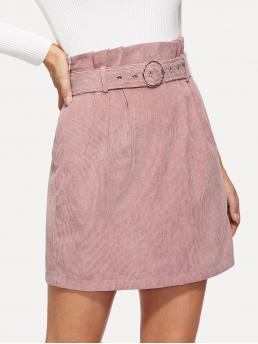 Elegant A Line Plain High Waist Pink Above Knee/Short Length O-Ring Belted Waist Corduroy Skirt with Belt