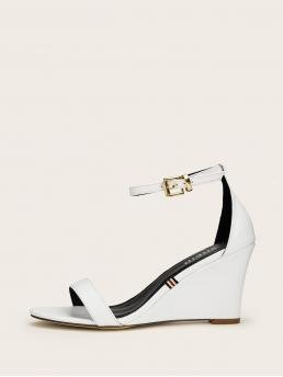 Business Casual Open Toe Plain Ankle Strap White High Heel Two Part Ankle Strap Wedges