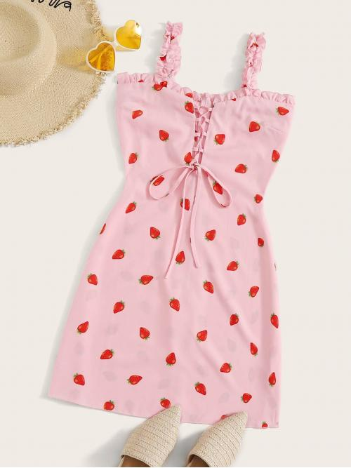 Boho All Over Print Regular Fit Straps Sleeveless Natural Pink and Pastel Short Length Strawberry Print Lace Up Front Frill Trim Dress