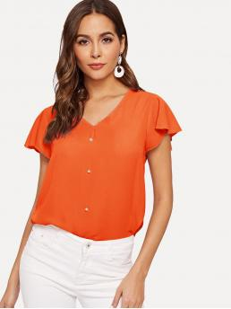 Casual Plain Top Regular Fit V neck Cap Sleeve Butterfly Sleeve Pullovers Orange and Bright Regular Length Neon Orange Pearls Beaded Front Top