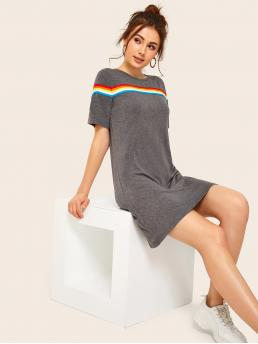 Casual Tee Striped Straight Loose Round Neck Short Sleeve Grey Short Length Rainbow Striped Tape T-shirt Dress