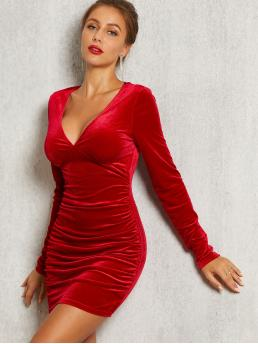 Glamorous and Sexy Bodycon Plain Slim Fit Deep V Neck Long Sleeve Regular Sleeve Natural Red and Bright Short Length SBetro Solid Bustier Detail Velvet Bodycon Dress