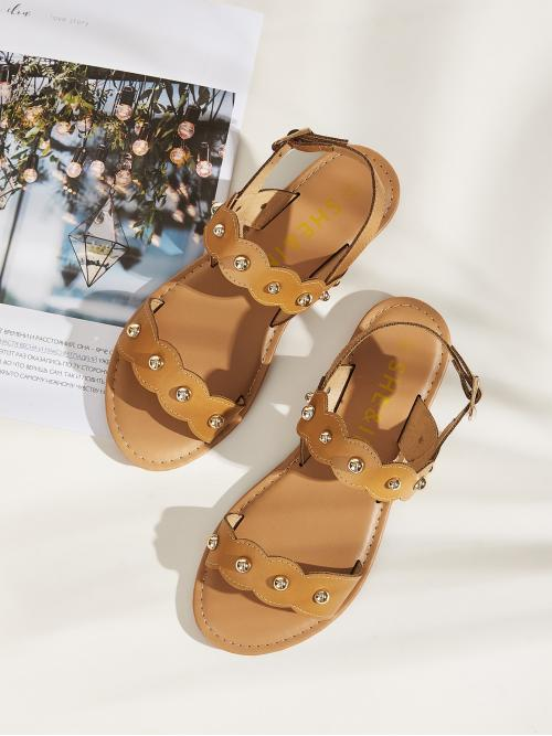 Comfort Open Toe Slingbacks Brown Studded Decor Scalloped Trim Sandals