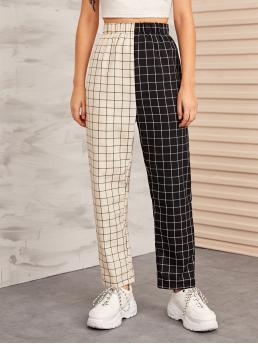 Casual Plaid and Colorblock Straight Leg Regular Elastic Waist High Waist Black and White Long Length Two Tone Plaid Elastic Waist Pants