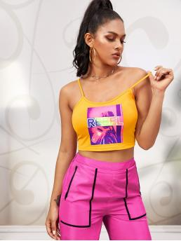 Casual Cami Letter and Figure Slim Fit Spaghetti Strap Yellow and Bright Crop Length Letter Graphic Crop Cami Top