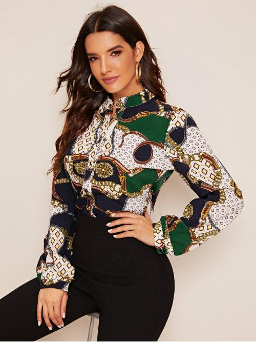 Casual Geometric and Chain Print Shirt Regular Fit Notched Long Sleeve Regular Sleeve Placket Multicolor Regular Length Chain & Geo Print Notched Neck Blouse