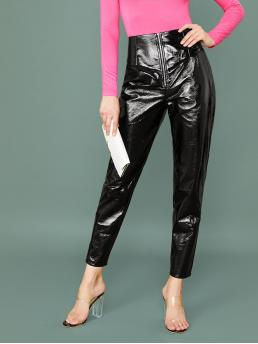 Glamorous Plain Tapered/Carrot Regular Zipper Fly High Waist Black Long Length Exposed Zip Fly Faux Patent Pants