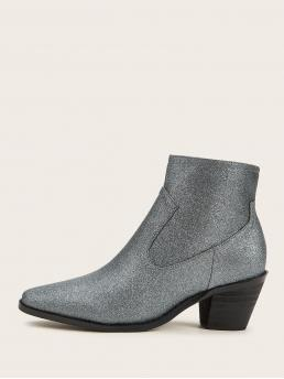Other Side zipper Silver Mid Heel Chunky Point Toe Glitter Western Boots
