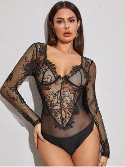 Sexy Other Plain Regular Sweetheart Long Sleeve Regular Sleeve Black Floral Sheer Lace Bodysuit