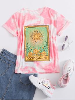Casual Tie Dye and Graphic Regular Fit Round Neck Short Sleeve Regular Sleeve Pullovers Multicolor Regular Length Graphic Print Tie Dye Tee