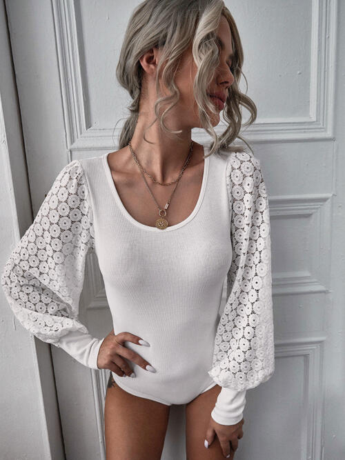 Cheap Long Sleeve Tee Rib-knit Polyester Lace Panel Bodysuit