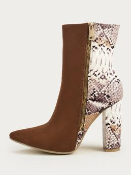 Ladies Brown Classic Boots High Heel Chunky Snakeskin Panel Side Zip Boots