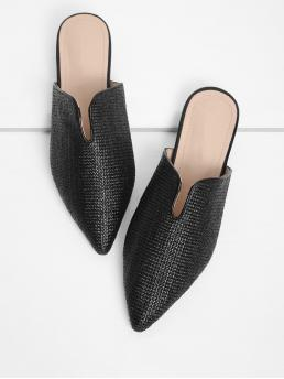 Mules Point Toe Plain Black Pointed Toe Woven Flats