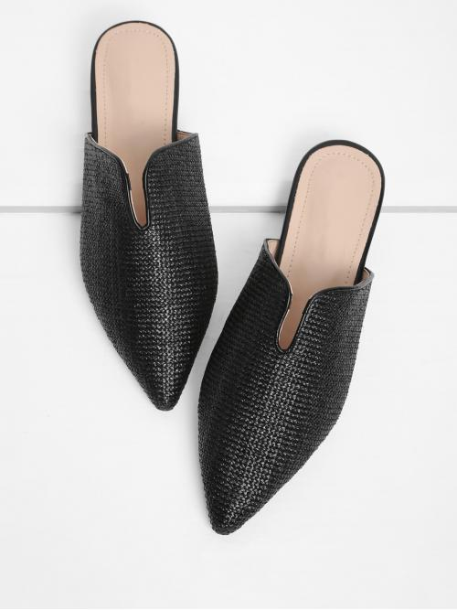 Discount Cotton Black Mules Glitter Pointed Toe Woven Flats