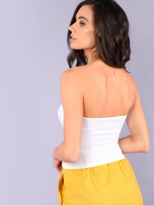 Sleeveless Cami Knot Polyester Sweetheart Neck Rib Knit Bandeau Top Sale