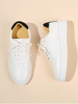 Affordable Corduroy White Skate Shoes Chain Pu Sneakers