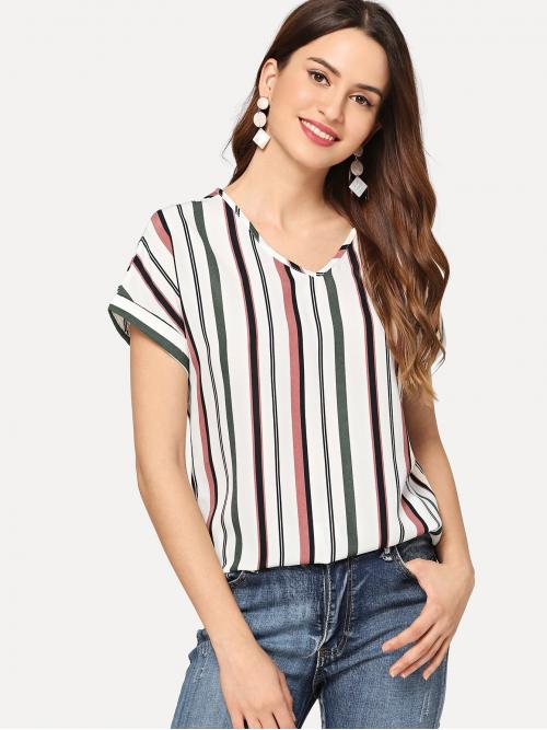 Short Sleeve Top Lace up Polyester Curved Hem Top Fashion