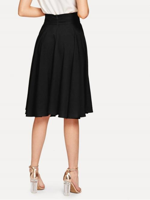 Fashion Black High Waist Zipper Flared High Rise Wide Waistband Circle Skirt