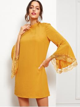 Yellow Plain Button Stand Collar Lace Contrast Bell Sleeve Solid Dress Pretty