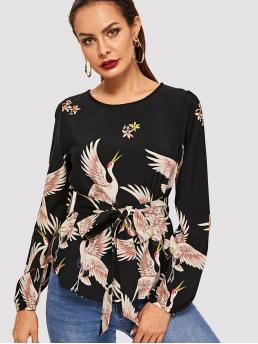 Casual Animal Top Regular Fit Round Neck Long Sleeve Regular Sleeve Pullovers Black Regular Length Crane Bird Print Belted Top with Belt