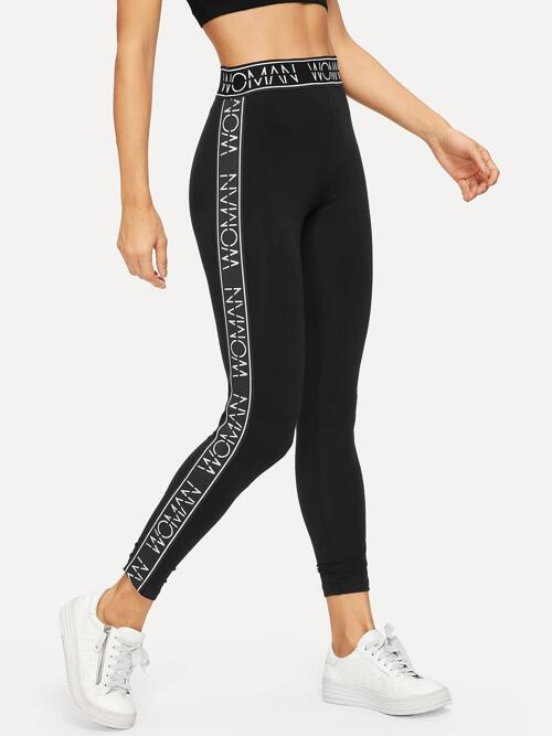 Discount Black Cropped Sporty all High Waist Letter Leggings