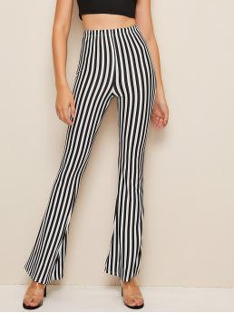 Elegant Striped Flare Leg Regular Elastic Waist High Waist Black and White Long Length Striped High Waist Flare Pants