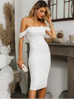 Glamorous and Sexy Bodycon Plain Pencil Slim Fit Off the Shoulder Short Sleeve Natural White Midi Length Glamaker Foldover Front Off Shoulder Ruched Mesh Overlay Dress with Lining