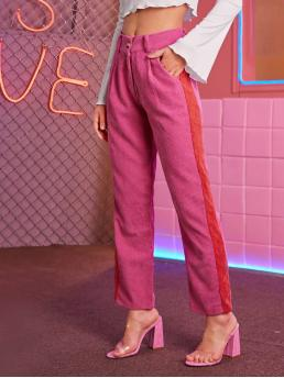 Casual Colorblock Straight Leg Regular Button Fly Mid Waist Pink Long Length Contrast Panel Corduroy Straight Leg Pants