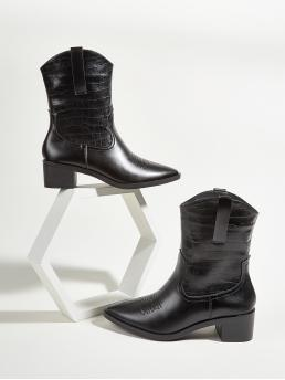 Black Western Boots Low Heel Chunky Ankle Boots on Sale