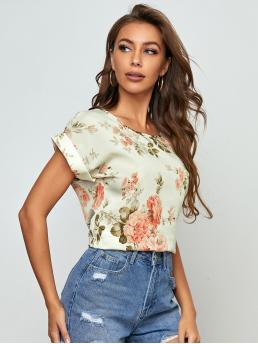 Short Sleeve Top Polyester Floral Rolled Cuff Dolman Sleeve Top on Sale