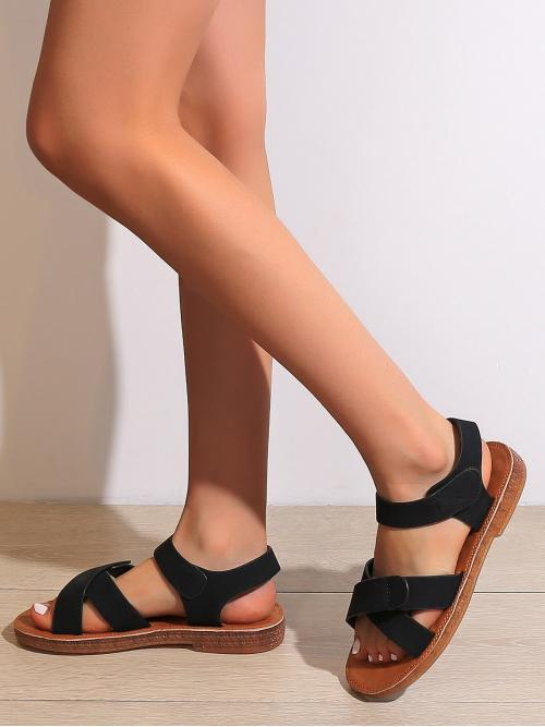 Black Strappy Sandals Flat Open Toe Minimalist Sandals Affordable