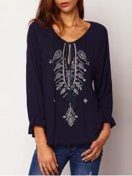 Boho Top Regular Fit Round Neck Long Sleeve Navy Tie-neck Embroidered Loose Blouse