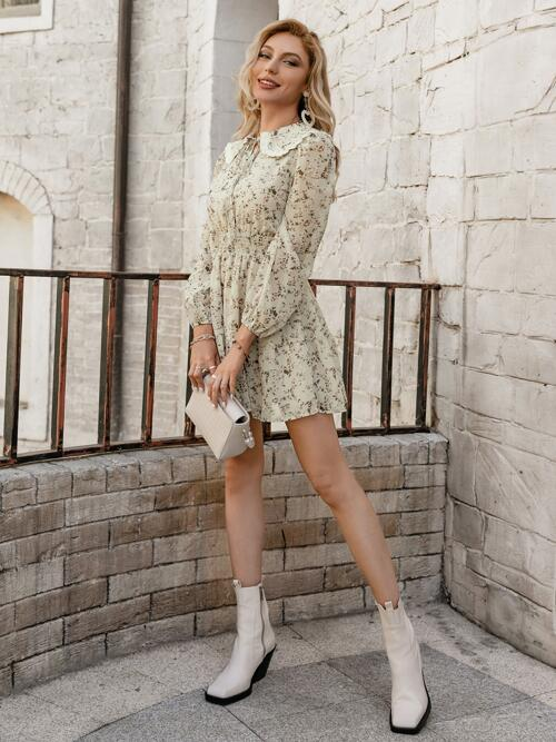 Multicolor Ditsy Floral Tie Front Sailor Collar Allover Floral Print Peter-pan Tie Neck Waist Dress Beautiful