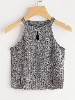 Casual Halter Plain Slim Fit Halter Top Grey Space Dye Keyhole Front Knit Top