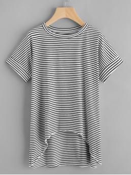 Casual Striped Regular Fit Round Neck Short Sleeve Black and White Dip Hem Striped T-shirt
