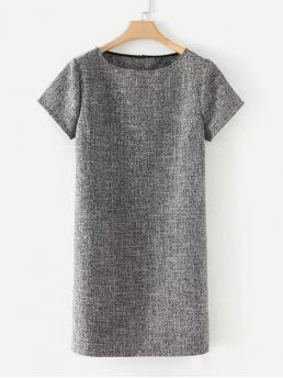 Grey Plain Pocket Round Neck Slit Detail Marled Dress Cheap