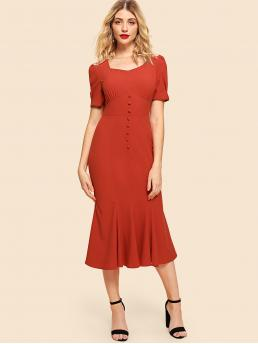 Vintage Fitted Plain Mermaid Regular Fit Square Neck Short Sleeve Puff Sleeve Natural Red Long Length Button Front Wide Waistband Fishtail Dress