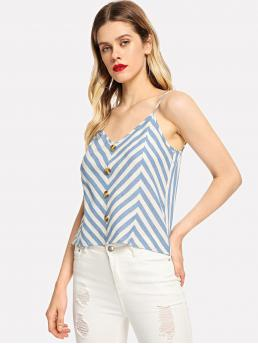 Casual Cami Striped and Chevron Regular Fit Spaghetti Strap Blue Regular Length Button Front Striped Cami Top