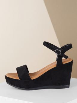 Open Toe Plain Flatform Ankle Strap Black High Heel Ankle Buckle Strap Flatform Wedge Sandals