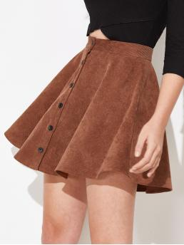 Ladies Rust Brown Natural Waist Button Flared up Flare Cord Skirt