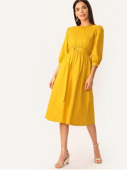 Elegant A Line Plain Flared Loose Round Neck Three Quarter Length Sleeve Regular Sleeve Natural Yellow and Bright Midi Length O-ring Belted Keyhole Back Solid Dress with Belt