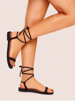 Boho Open Toe Plain Strappy Black Lace-up Strappy Flat Sandals
