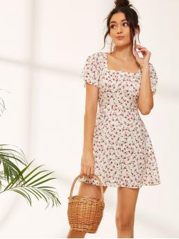 Boho A Line Ditsy Floral Flared Regular Fit Square Neck Short Sleeve Butterfly Sleeve High Waist Multicolor Short Length Ditsy Floral Square Neck Sundress